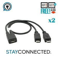 2x Micro USB 1 Female to dual 2 Male Splitter Y Extension Data Charger Cable