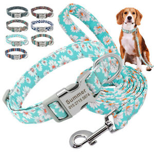 Floral Nylon Personalised Dog Collar and Lead Set Pet Puppy Walking Lead & Disc