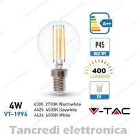 Lampadina led V-TAC 4W = 40W E14 VT-1996 P45 miniglobo filamento lampadine bulbo