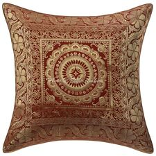 """Indian Brocade Pillow Cover Handmade Red Pillow Cushion Cover Throw 16X16"""""""