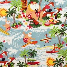 Alexander Henry SURFIN SANTA Cotton Fabric,Tropical Christmas,Beach,Reindeer,BTY