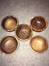 5 Solid Wooden Bowls Olive & Thyme Natural Very Good Condition. RARE. FREE SNH