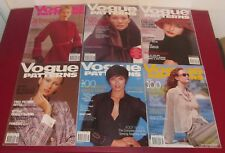 Job Lot 6 VOGUE PATTERNS MAGAZINES 2001 Fashion Lifestyle Chic