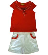 Conjuntos niña, pantalón corto y camiseta  de Caprichosa, rojo  ,talla 4