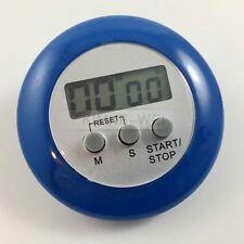 LCD Digital Kurzzeitmesser Eieruhr Küchenuhr Countdown + Clip Rund (Blau)