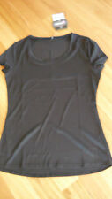 LADIES CUTE BLACK POLYESTER SHORT SLEEVE SPORTS TOP BY CRANE - SIZE S - 8/10 NWT