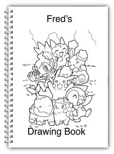 A5 PERSONALISED SKETCH DRAWING BOOK, COLOUR IN 50 LINED OR BLANK, POKEMON, 06