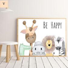 Be Happy Nursery Print Kids animal prints wall art nursery decor