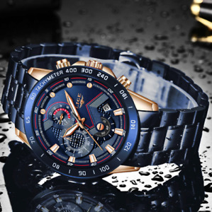 LIGE Mens Watches Waterproof Chronograph Analog Quartz Watch