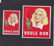 Anciennes étiquettes allumettes Belgique BN23807 Cigarettes Boule D'or Femme 4