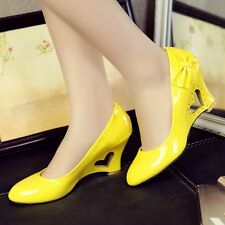 New Womens Ladies Wedge Heels Bowknot Sweet Casual Shoes Court Shoes Pumps UK 5