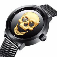 Luxury BIDEN 3D Skull Men Boy Quartz Watch Black Mesh Stainless Steel Band