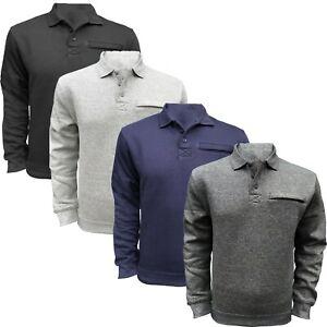 Mens Polo Sweatshirt Jumper Collared Soft Fleece Warm 3 Button Zipped Top
