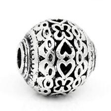Metall Perle, antik silber geschwärzt, Kupfer, mit Kugel mit Herz 11 mm 1x