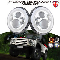 "2x Angel Eye 7"" LED Projector Headlight Halo Ring For LAND ROVER DEFENDER 90 110"