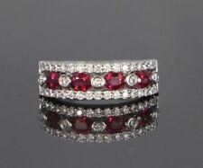 Anelli di lusso con gemme ovale anniversario di pietra principale rubino