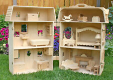 Woodworking plans for a deluxe folding 6 room Barbie Doll House with furniture