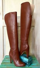 NIB Anthropologie Candela Cognac Leather Pull On Over The Knee Heel Boots 8.5
