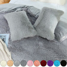 Soft Plush Faux Fur Throw Pillow Cases Fluffy Velvet Shaggy Pillow Cover Bed Pad