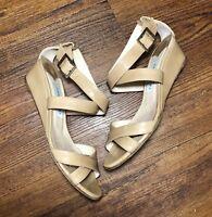 Jimmy Choo Women's 37.5 Tan Patent Leather Chiara Wedge Heel Ankle Strap Sandals