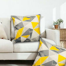 Home Decor Yellow Gray Geometric Throw Pillows Cases striped cushion covers