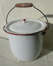 vintage white with red enamelware chamber pot farm slop bucket pail bail handle
