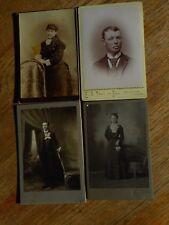 Lot of 4 PHOTOs Cabinet Cards Vintage early 1900's ?  KS NE Boy Man woman