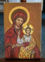 ESTATE HAND PAINTED RUSSIAN ICON MADDONA WITH THE CHRIST CHILD PURCHASED IN KIEV
