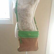 Kate Spade New York Women's Cobble Hill Straw Ellen CrossBody Green Bag Purse