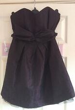 Stunning Next Dark Midnight Purple wrap bow layer dress Size 10