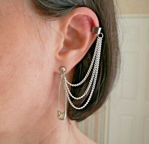 Punk Safety Pin 3-chain Ear Cuff Earring  with Stainless Steel Stud Cosplay 70s