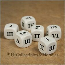 NEW 6 Roman Numeral D6 Six Sided RPG D&D Game Dice Set 16mm Koplow
