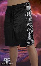 Cryoflesh Dark Circuitry Cyber Goth Industrial EDM Rave Boardshorts XS-S, L-XL