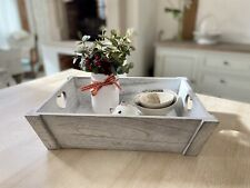 Grey Rustic Wooden Serving Tray With Heart Handles Decorative Tray Kitchen Decor