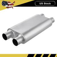 "2.5"" Inlet Outlet Muffler Exhaust Silencer Racing Dual Resonator 3 Chamber US"