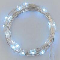 Stringa serie 50 luci di Natale micro led bianco ghiaccio a batterie impermeabil