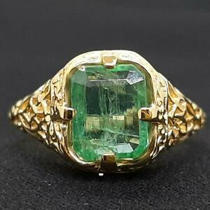 Antique Filigree 2.10ct Colombian Emerald 14K Yellow Gold 925 Silver Ring Size 6