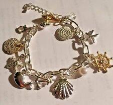 "Enchanting Sea-Life/Seashell Chunky Nautical Charm Bracelet/Anklet. Adj. to 10""."