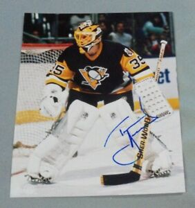 Tom Barrasso, Pittsburgh Penguins, Signed 8 x 10 Photo, Black Jersey