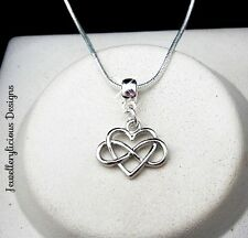 Infinity Love You Forever Heart Pendant Snake Chain Necklace 56cm
