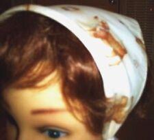 Bandana Hat® Unseen Headband Secures On Head Toddler Size, Beige Puppy Print New