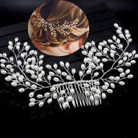 De mariée Épingle à cheveux Cristal Perles Fleur Mariage Agrafe Bandeau Peigne