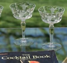 Vintage Etched Cocktail Martini Glasses - Champagne Coupes, Set of 4
