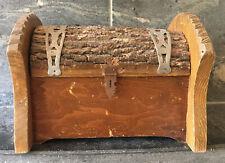 VTG Solid Wood Bark Rounded Chest Trunk Keepsake Box FOLK ART ALL NATURAL As Is