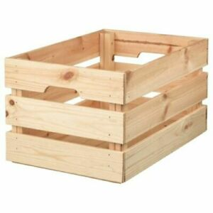 IKEA KNAGGLIG Pine Box Crate Wooden Durable Heavy Stackable Storage Tools Bottle