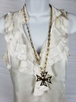 EUC VTG Signed Monet Maltese Cross Gold Tone Runway Necklace Attached Pendent