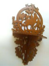 Vintage Handmade Wood Carving Cutout Hanging with Small Shelf