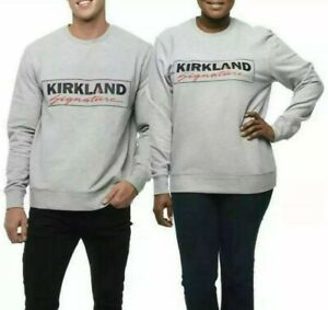 NWT Kirkland Signature Costco Unisex Logo Fleece Crewneck Sweatshirts L/XL Gray