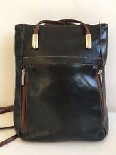 BLACK/BROWN TRIM 100% LEATHER 3 COMPARTMENT RUCKSACK/BACKPACK/SHOULDER BAG