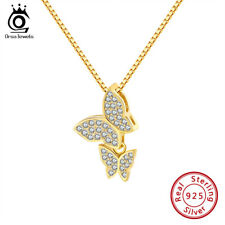 S925 Silver Double Butterfly Rhinestone Crystal Pendant Gold Plated Necklace